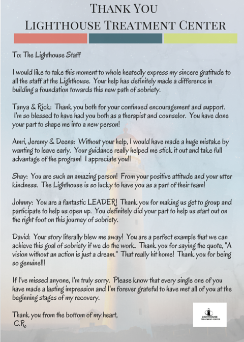 Thank you letter from a grateful client lighthouse treatment center thank you letter to lighthouse treatment center from a client expocarfo